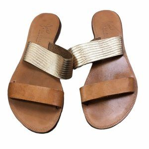 JOIE A La Plage Leather Tan/Gold Slip On Sandals
